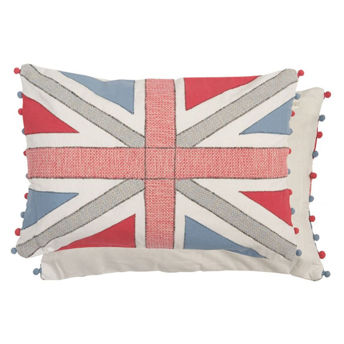 kissen union jack in blau rot mit bommeln 50x35 von clayre eef. Black Bedroom Furniture Sets. Home Design Ideas