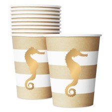 Pappbecher 'Preppy Seahorse' Seepferdchen gold von Delight Department