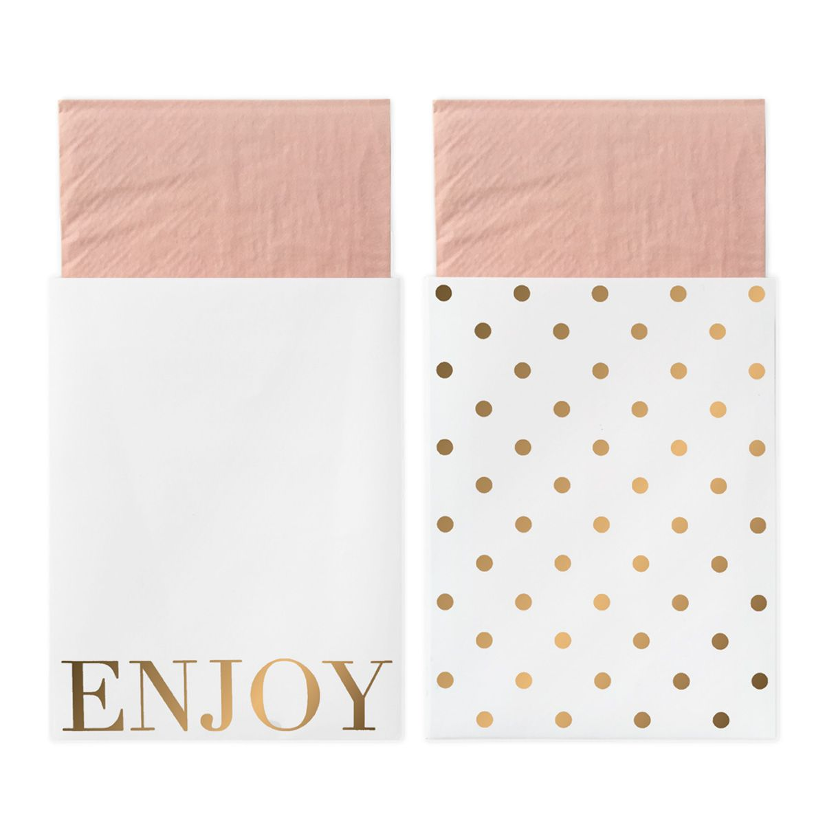 Servietten mit Papiertasche 'Enjoy' gold/rosa