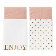 Servietten mit Papiertasche 'Enjoy' gold/rosa von Delight Department