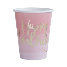 Pappbecher 'Pick And Mix' Ombre rosa/gold von Ginger Ray