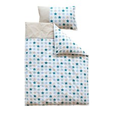 Kinderbettwäsche - Mixed Stars Mint 100x135 cm von Little Dutch