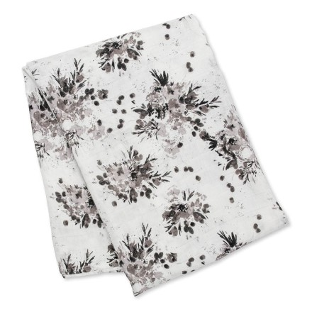 Bamboo Swaddle Mulltuch 'Black Floral'