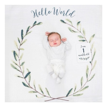 Swaddle & Karten Set 'Baby's First Year - Hello World'