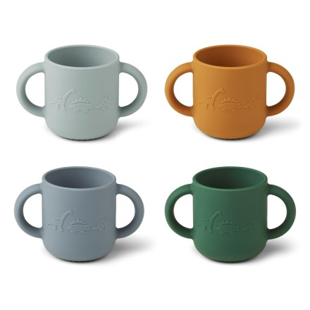 Silikon Tasse 'Gene' Dino Blue Multi Mix 4er-Set