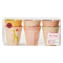 Bambus Melamin Becher-Set 'Girls Animal Print' (klein) von rice