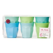 Melamin Becher 'Blue & Green Colors' im 6er-Set (klein) von rice
