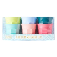 Melamin Becher Medium 'Shine Colors' im 6er-Set von rice