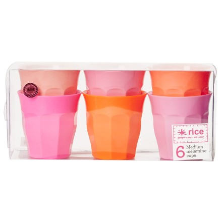 Melamin Becher 'Pink & Orange Colors' im 6er-Set