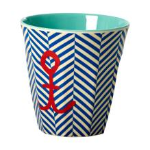 Melamin Becher 'Sailor Stripe & Anchor' von rice