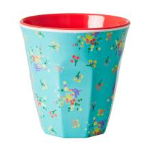 Melamin Becher 'Two Tone Aqua Mini Flower' von rice