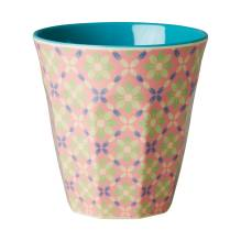 Melamin Becher 'Two Tone Flower Tile' von rice