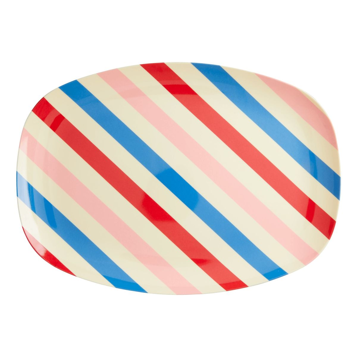Melamin Platte Tablett 'Candy Stripes' oval