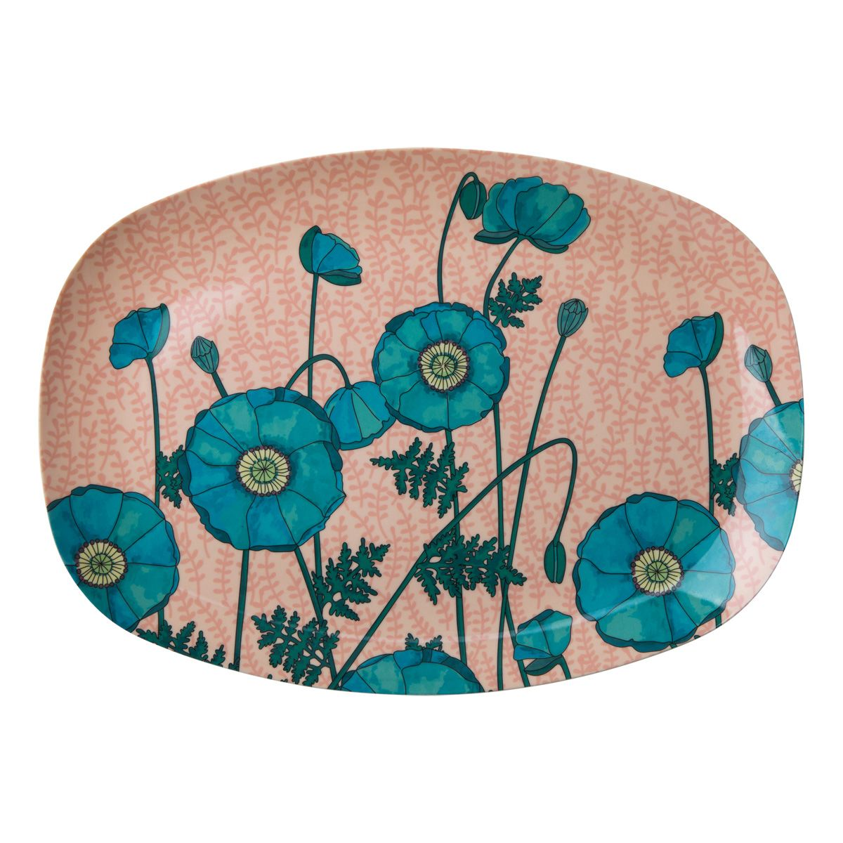 Melamin Tablett Platte 'Blue Poppy' oval