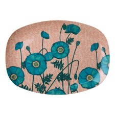 Melamin Tablett Platte 'Blue Poppy' oval von rice