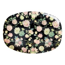 Melamin Tablett Platte 'Dark Rose' oval von rice