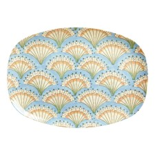 Melamin Tablett Platte 'Flower Fan' oval von rice