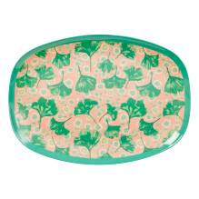 Melamin Tablett Platte 'Leaves & Flower' oval von rice