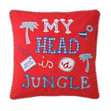 Kissenbezug 'My Head Is A Jungle' rot 40x40 cm von Room Seven