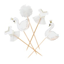 Kuchendeko Sticks Schwan 'We Heart Swans' von talking tables