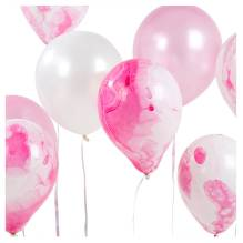 Luftballons 'We Heart Pink' in Marmor-Optik rosa von talking tables