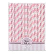 Nostalgische Papier Trinkhalme Pink n Mix rosa gestreift von talking tables