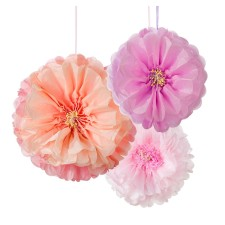 Pompons 'Pom Poms Flower' Blush im 3er-Set von talking tables
