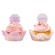 Set Cup Cake Cases & Toppers Pink n Mix von talking tables